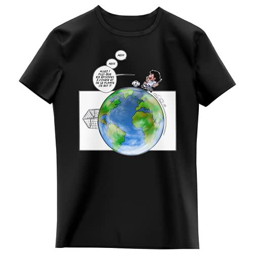 T-Shirt Enfant Fille Noir Parodie Olive et Tom - Captain Tsubasa - Olivier et Atone - Le Plus Grand Terrain de Foot du Monde ! (T-Shirt Enfant de qualité Premium de Taille 3-4 Ans - imprimé en France