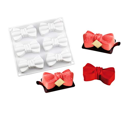 Tangker 6 Cavity Bow Ties shape Fondant Silicone Cake Mold for Mousse Chocolate Candy Dessert Soap Wedding Decorating Baking Mold Cake Tools