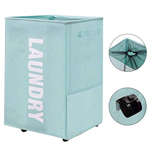 homyfort Laundry Basket on Wheels, Waterproof Laundry Storage Hamper with Handles, Collapsible Dirty Clothes Basket Bins Organizer Laundry Bag (22 inches,Blue)