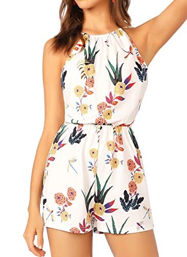 SheIn Women's Floral Halter Neck Strappy Elastic Waist Romper Casual Jumpsuit White X-Small