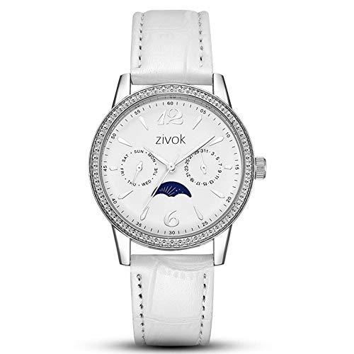 CHENDX Nuevas señoras Relojes Moda Multifunción Calendario Calendario Semana Cinturones Cuarzo Forma Femenina (Color : White)