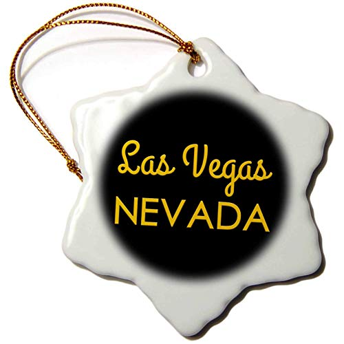 Alexis Design American Cities Yellow on Black Las Vegas Nevada United States Patriot Home Town Talisman Christmas Ornaments for Kids Christmas Tree Decoration Ceramic 3 Inches