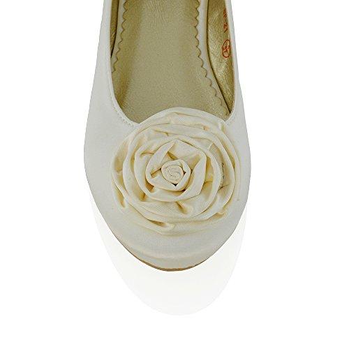 Ballerinas flache Hochzeitsschuhe mit Blume - 2