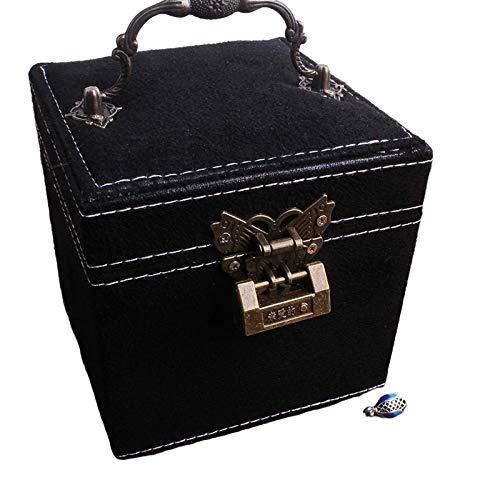 Intramachine, Caja de franela retro de princesa, caja de joyería de tres capas, caja de almacenamiento portátil para anillos, pequeña caja para pendientes (espejo negro)