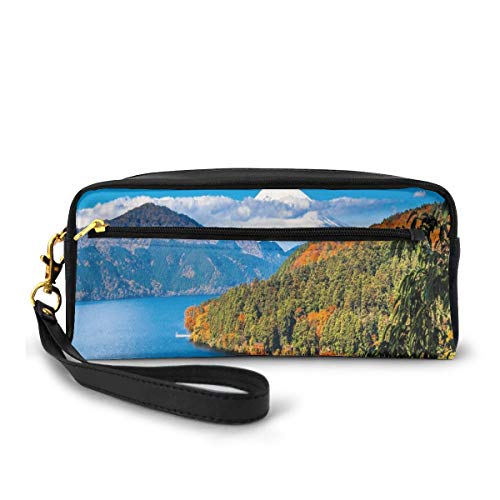 Pencil Case Pen Bag Pouch Stationary,Lake Ashi MountJapan Town Hakone Travel Touristic Destination,Small Makeup Bag Coin Purse