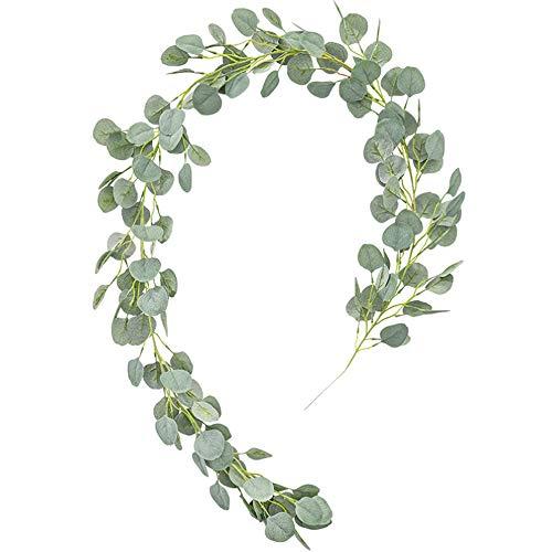 Aisamco Dólar de Plata Artificial Hojas de eucalipto Guirnalda Temporada navideña Guirnaldas Falsas Colgantes Colgantes Guirnalda de Hojas de eucalipto en Verde Gris para centros de Mesa
