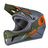 O'NEAL | Mountainbike-Helm Fullface | MTB DH Downhill FR Freeride | ABS-Schale, Magnetverschluss, übertrifft Sicherheitsnorm EN1078 | SONUS Helmet DEFT | Erwachsene | Grau Olive Orange | Größe M