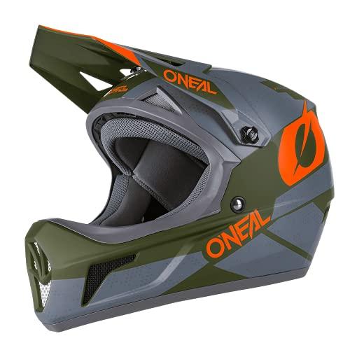 O'NEAL | Mountainbike-Helm Fullface | MTB DH Downhill FR Freeride | ABS-Schale, Magnetverschluss, übertrifft Sicherheitsnorm EN1078 | SONUS Helmet DEFT | Erwachsene | Grau Olive Orange | Größe XS