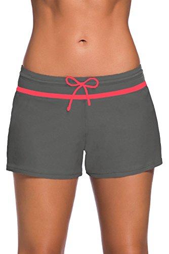Yavero Shorts de Baño Mujer Bañador Short Deportes Acuáticos Shorts de Natación Secado Rápido Bermudas de Baño Mujer Cortos con Cordón Ajustables Gris Rose L