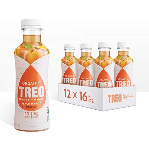 Treo Fruit & Birch Water Drink, Peach Mango, USDA Organic, Non-GMO Project Verified, Vegan, Gluten-Free, 10 Calorie & 1g of Sugarper Serving, Good Source of Vitamin C, 16 fl oz, Pack of 12
