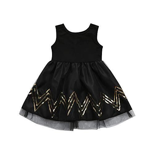 IZHH Kinder MäDchen Rock Kind Pailletten Gewelltes äRmelloses Schwarzes Kleid Netzkleid Kinder Kleinkind Baby MäDchen TüLl Ripple Tutu Princess Black Dress Outfits(Schwarz,100)