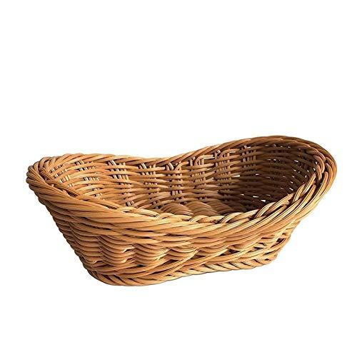 Cesto de Almacenaje de Mimbre Cesta de mimbre de la cesta, canasta de peña tejida grande natural de mimbre de paja para la mesa de pan de mimbre de mimbre de mimbre sirviendo para el restaurante de la