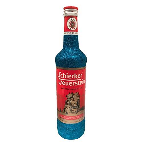 Glitzer Schierker Feuerstein Kräuter-Halb-Bitter, Kräuterlikör (1 x 0.7 l) - Bling Glitzerflasche blau