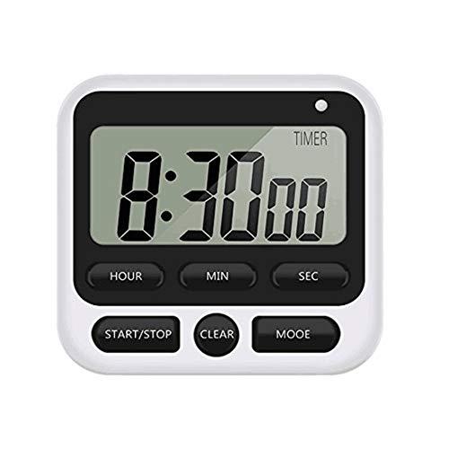 Minuteur de cuisine, compte à rebours magnétique numérique avec alarme puissante, support arrière pour cuisine, salle de classe, salle de bain, enseignants, enfants (pile non incluse) (Noir)