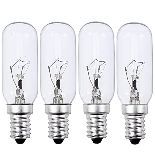 40W Cooker Hood Light Bulb E14, SES Appliance Lamp Warm White 2700K Dimmable, T25 Tubular Incandescent Light Bulbs Small Edison Screw, Extractor Fan Bulb Screw Fit (4-Pack).