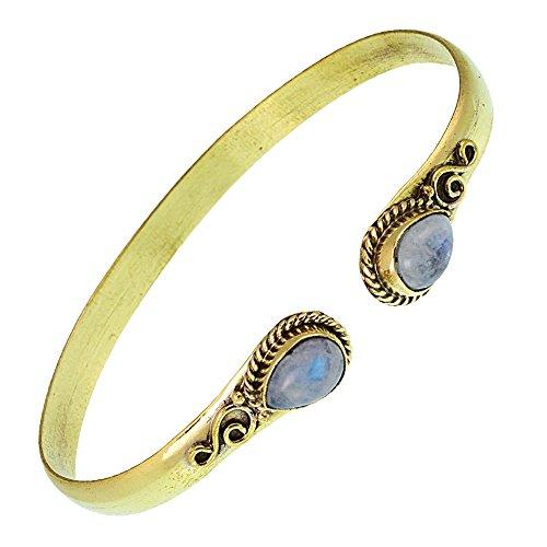 Chic-Net Messing Armreif golden Mondstein Spirale Tropfen Flechtrand nickelfrei verstellbar antik Tribal