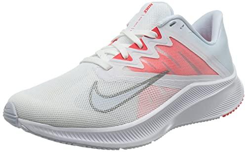 Nike Wmns Quest 3, Zapatillas para Correr Mujer, White Football Grey Mtlc Silver BRT Crimson, 40.5 EU