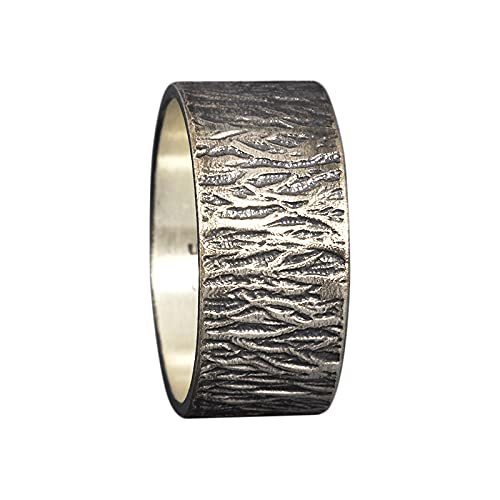 9mm Wood Bark Tree Bark Textured Rustic Oxidized Blackened Wedding Band 925 Sterling Silver Mens Women Unisex Thick Handmade Black Wedding Ring - FREE Custom Engraving