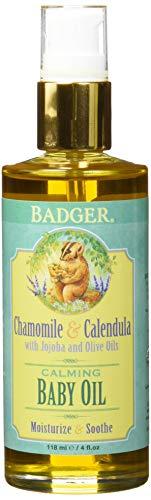 Badger Baby Oil Glass Bottle, 4 Ounce