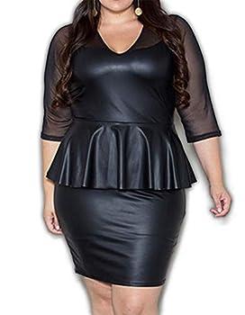Plus Size/Regular Size PVC Mesh Checkered Peplum Cocktail Dress  Black 2X