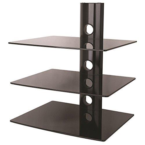 NEG Multimedia TV-Rack Suspender 503B (schwarz) mit 3 Glas-Ablagen und Kabelmanagement-System