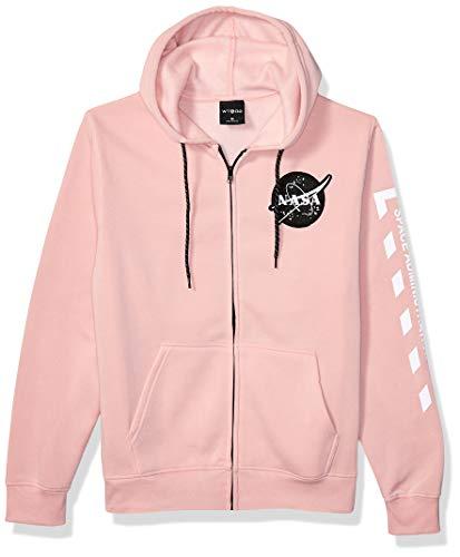 WT02 Men's NASA Collection Fleece Hooded Sweatshirt (Pullover, Fullzip), Pink Zip Emb, X-Large