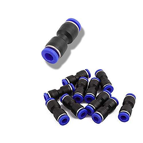 Wohlstand Guarniciones neumaticas 50 Pcs,Manguera de Aire Neumática Conector,OD 4/6/8/10/12 mm,Recto Empuje Conexiones Rápidas Plástico Azul + Negro
