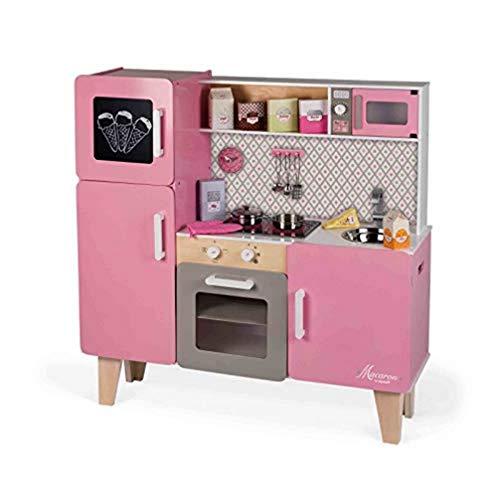 Janod - Maxi cucina Macaron (legno), dotata di frigo e forno a microonde, gioco di imitazione, 15 accessori inclusi, per bambini dai 3 anni in su, J06571, colore: rosa