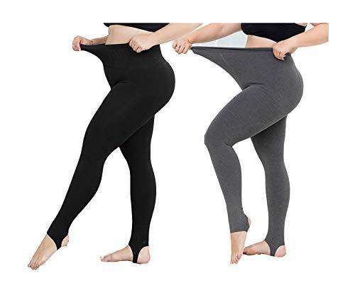 Yulaixuan 2 pares de mujeres calientan pantalones extra grandes y alargan sudaderas pantimedias gruesas para medias de invierno leggings (estribo negro y gris legging)