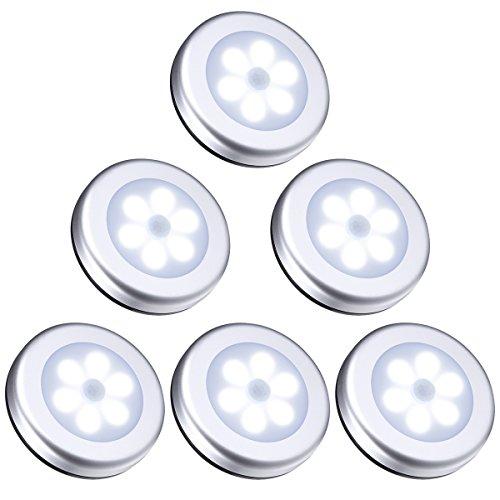 ORIA Nachtlicht mit Bewegungsmelder, 6 LED Bewegungsmelder Licht Schranklicht, Indoor NachtLicht Schrankbeleuchtung, Auto EIN/AUS Licht Sensor Licht Für Flur, Treppen, Bad, Schlafzimmer, Küche –Weiß