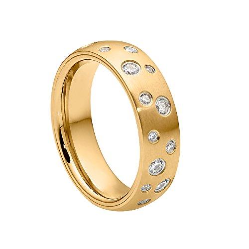 Heideman Ring Damen Astrum S aus Edelstahl Gold farbend matt Damenring für Frauen mit Swarovski Stein Zirkonia Weiss im Brillant Schliff 1,5-3mm