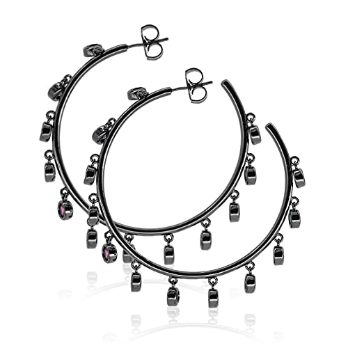 Pendientes de moda para mujer, diseño de oreja, para fiesta diaria, color negro, anillo grande
