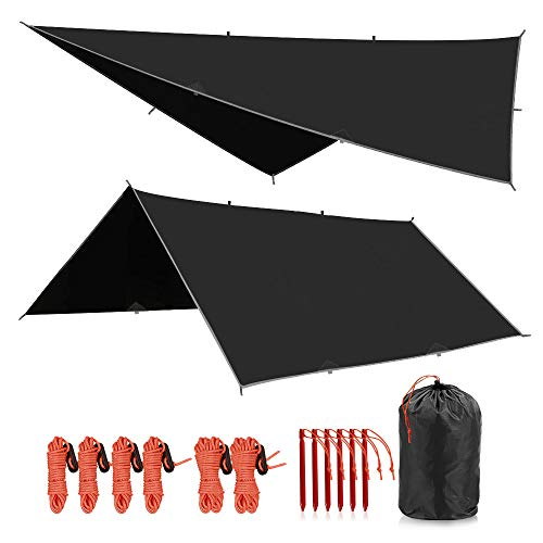 REDCAMP Hammock Rain Fly Waterproof and Lightweight, 12ft Tent Tarp for Camping Backpacking Hiking, Black