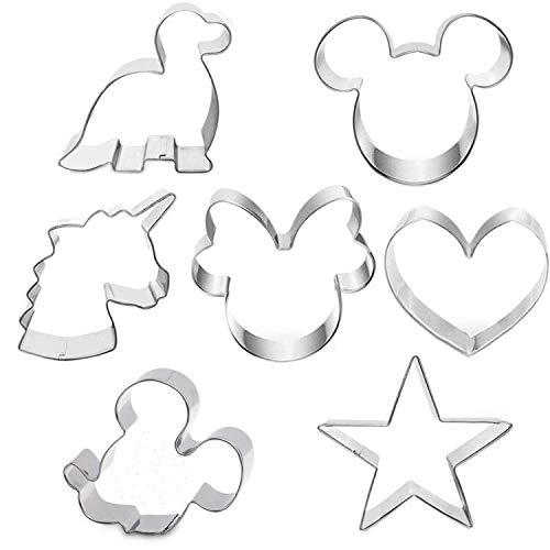 7 Stück Ausstechformen mit Formen von Mickey Mouse Kopf, Mickey Mouse Gesicht, Minnie Maus, Einhorn, Dinosaurier, Herz und Stern für Kekse, Sandwiches und Kuchen