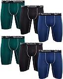 Reebok Calzoncillos tipo bóxer de compresión para hombre (6 unidades) (verde/azul marino/negro, XL)