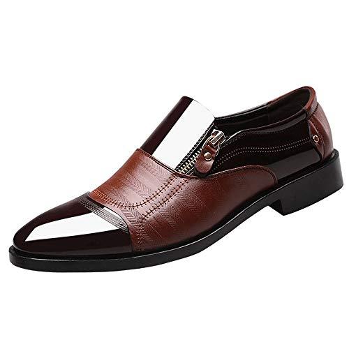 GongzhuMM Chaussures de Ville Homme Bout Pointue Chaussures en Cuir avec Fermeture éclair Mocassins pour Homme Chaussures de Mariage 38-44.5 EU