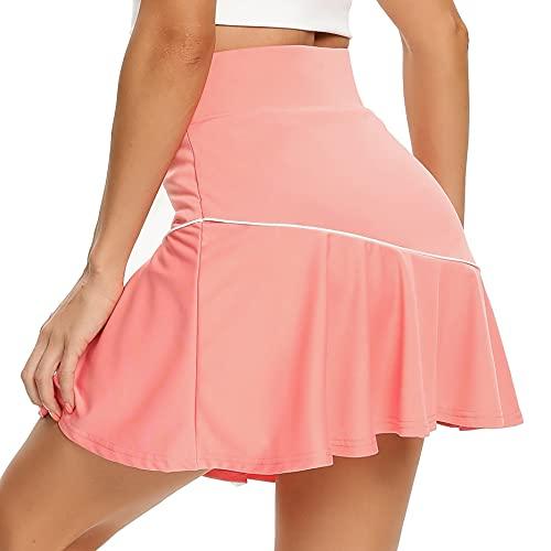 WOWENY - Falda de tenis con volantes y bolsillos para correr y entrenar