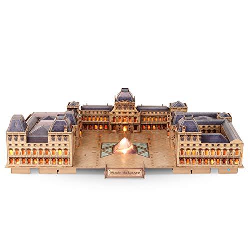 MXECO Cubic 3D 3D Puzzle Juguetes creativos Paris Louvre Louvre Iluminado Led Modelo arquitectónico Moda Profesional