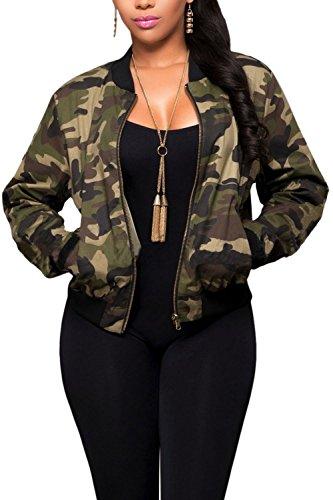 Le Donne Giacca Mimetica Occasionale La Cerniera delle Giacche Militari con Le Tasche Green S