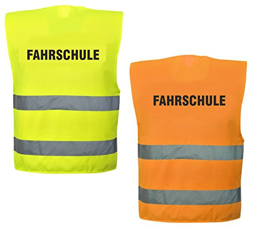 Warnweste mit Text - Fahrschule - bedruckt Rückendruck Sicherheitsweste EN ISO 20471 (Gelb)