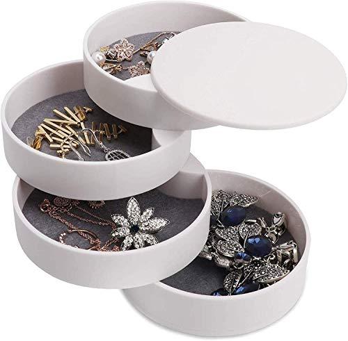 蓋付き 4段 ジュエリーボックス アクセサリーケース 指輪 イヤリング レディース アクセサリー 収 納ボックス 収納ケース 卓上 プラスチック コンパクト インテリア(ホワイト)