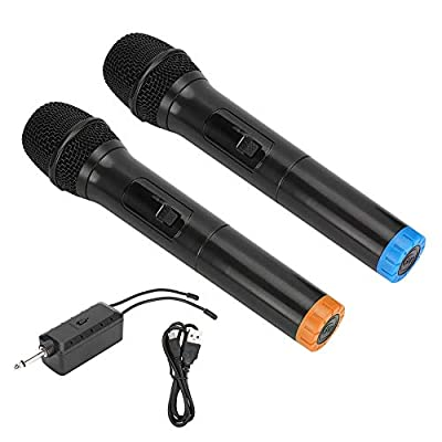 Wireless Microphone, UHF Wireless Dual Handheld Dynamic Mic System Set with Rechargeable Receiver reception up to 50M for Karaoke, Singing, Church, Meeting, etc.