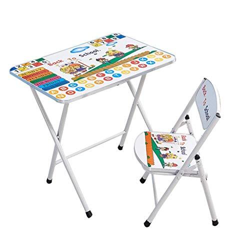 Children's table and chair set Mesa y Silla Conjunto Infantil, Simple Mesa Plegable y Silla, Mesa de Actividades bebé de Dibujos Animados portátil, Apto for niños de 2-10 años de Edad (Color : White)