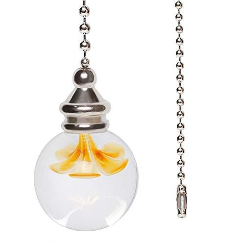 ManYing 1 metro interruptor de luz de tirador de cadena de bola con manija colgante de flor de vidrio ventiladores de baño/inodoro/techo NC002RC (NC002RC2)