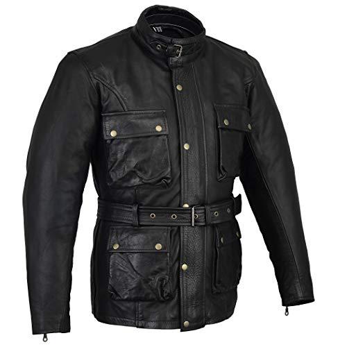 Biker Gear Klassische Vintage Trail Blazer CE1621-1 PU Rüstung Motorrad Gewachste & geölte Alter behandelt Lederjacke - Black -4XL