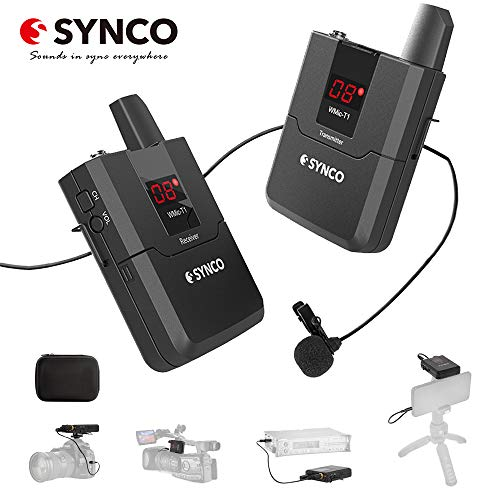 SYNCO WMic-T1 Wireless Lavalier Microphone System UHF16-Channel Mic with Transmitter Receiver Kit,for Smartphone Canon Nikon Sony DSLR Camera/Interview/Camcorder/Audio Recorder