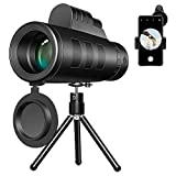 ANLONGLI Telescopio de Solo Tubo de 40x60 HD con Soporte, cámara de telefonía móvil Zoom Lens + Soporte de trípode + Camping Clip-on Binoculars 3 Piezas/Set