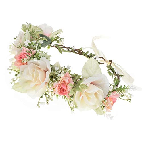Vividsun Adjustable Flower Crown Floral Headpiece Floral Crown Wedding Festivals Photo Props (E-pink white)