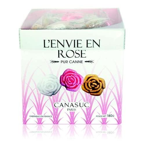 Canasuc 48 Zollette di Puro Zucchero di Canna e Coloranti Naturali a Forma di Rosa Incartate Singolarmente | Zucchero di Canna in Zollette - 1 x 180 Grammi