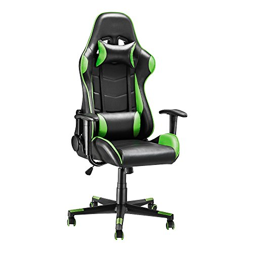 Gaming Chair, Racing Style Office High Back Ergonomic Conference Work Chair Reclining Computer PC Swivel Desk Chair with Headrest&Lumbar Cushion 170 Degree Reclining Angle (Green)